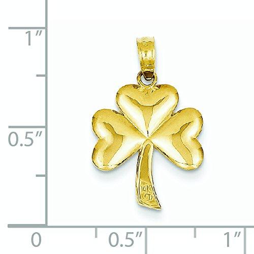 Massif poli 14 carats 3-Pendentif en Forme de Trèfle-Dimensions :  22,1 x 14,8 mm JewelryWeb -