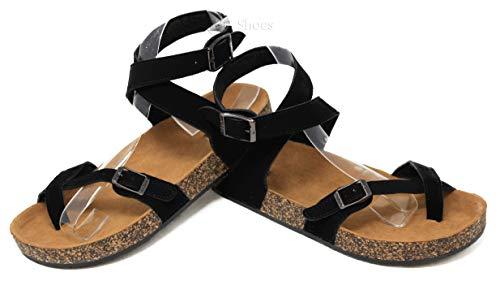 MVE Shoes Women's Strappy Buckle Cork Sole Flip-Flop-Sandals, Black Size 8.5