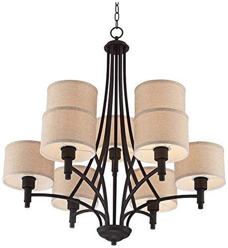 La Pointe 31 Wide Oil-Rubbed Bronze 9-Light Chandelier