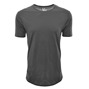 YoungLA Long Workout Shirts for Men Basic Elongated Drop Tail Hipster T-Shirts 311 (Charcoal, Medium)