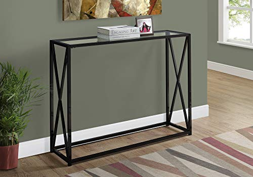 Monarch Specialties Hall Console Accent Table with Tempered Glass, Rectangular, Black Nickel