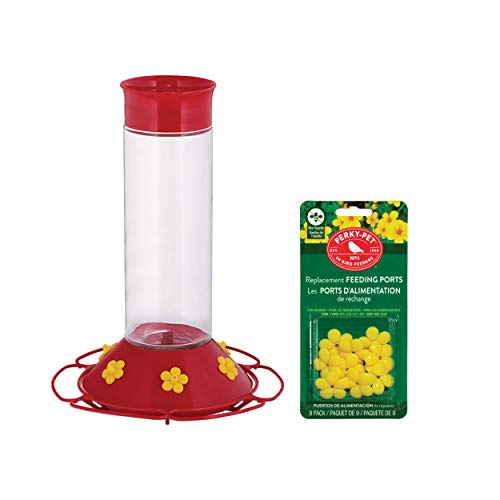 PP Perky-Pet Hummingbird 30 oz. Nectar Feeder 6 Ports Glass Bundle Guards