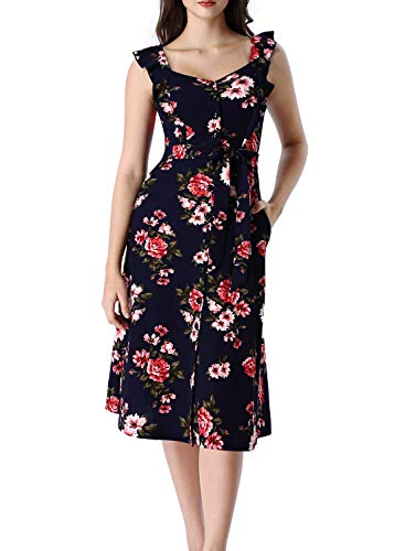 VFSHOW Women Summer Navy Blue Floral Print Flutter Sleeves Button Up Pockets Work Office Business Casual Party A-Line Midi Dress G3012 BLU L