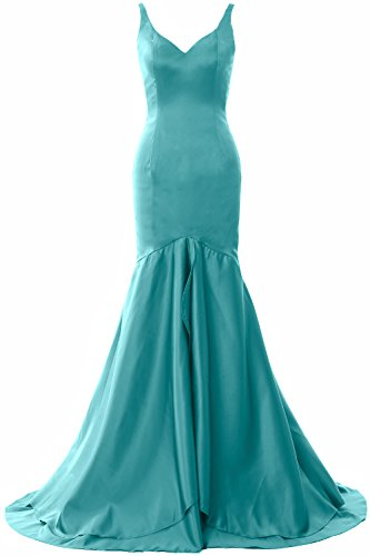 Satin Long Gown Turquoise Evening Mermaid Neck Dress V Formal Tiered Macloth Women Prom tdQCxshr
