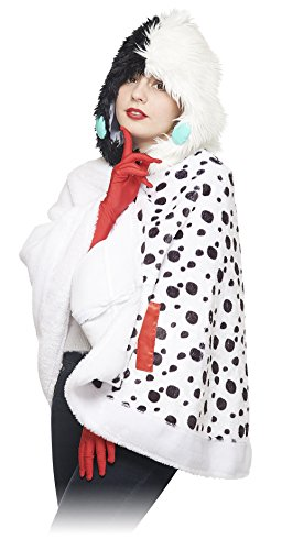 Disney's 101 Dalmatians - Cruella Hooded Cape & Gloves- Teen/Adult One Size