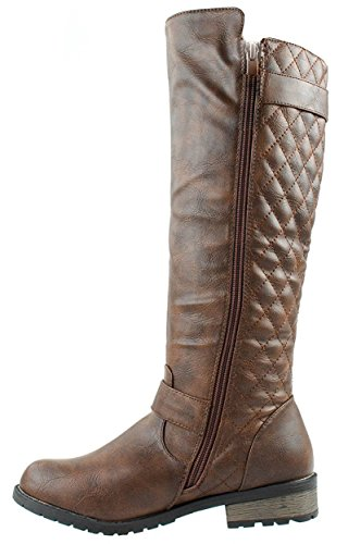 Quilted Women's Riding Boots Mango Link 21 15 Zipper Accent Brown Forever 1q6wI5Hn