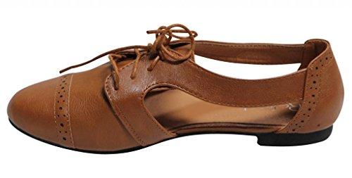 Aggiorna Marty-01 Donna Casual Slip On Allacciata Oxford Mocassino Mary Jane Cut-out Flats Tan
