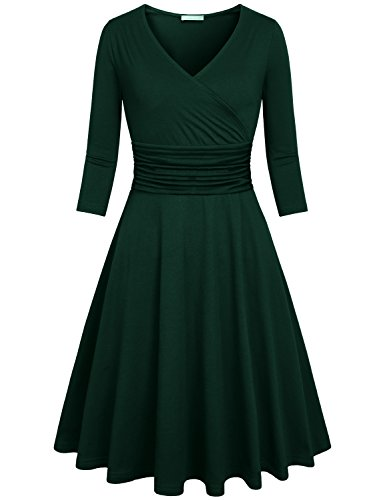 Kimmery Knee Length Dresses For Women Green, Elegant Vintage A Line Dress Semi Formal Surplice Pleated Skater Dresses 3/4 Sleeve Faux Wrap Dress With Peplum Hem Dark Green XL