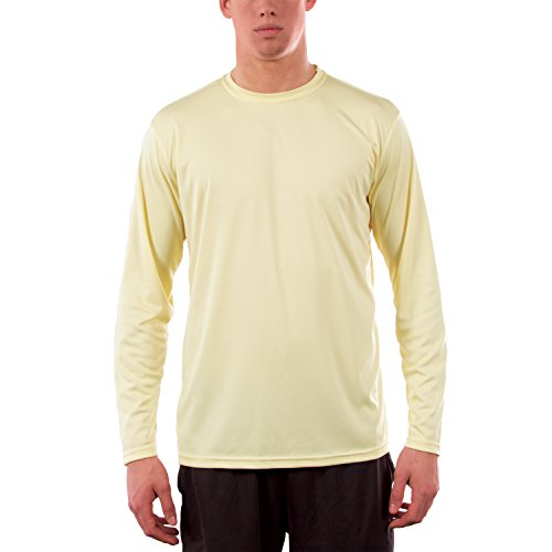 Vapor Apparel Men's UPF 50+ Sun Protection Performance Long Sleeve T-shirt Medium Pale Yellow