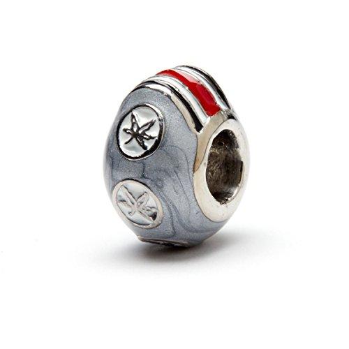State Helmet Charm (Ohio State University Charm | OSU Buckeyes - Gray Six-Leaf Bead Charm | Officially Licensed Ohio State University Jewelry | OSU Bracelet | OSU Charms | OSU Logo | Stainless Steel)