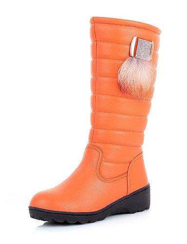 Marrón Uk6 Mujer Tejido Redonda Semicuero us8 5 Cn39 us8 negro Vestido Brown Nieve Cn40 Uk6 5 Zapatos De Comfort Orange Botas Xzz Eu39 Punta Plataforma Casual 6wH77E