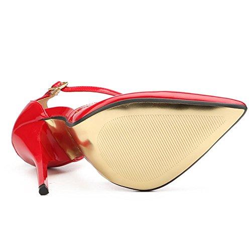 L@YC Damenschuhe Lackleder Frühling Herbst Grundlegende Pump Heels Stiletto Heel für Casual Schwarz/Rot Red
