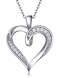 "925 Sterling Silver Infinity Love Heart Necklace Platinum Plated Round CZ Diamond Fine Woman's jewelry 18"" Mother's Day"