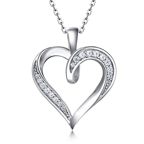 - Billie Bijoux 925 Sterling Silver Infinity Love Heart Necklace Platinum Plated Round CZ Diamond Fine Woman's jewelry 18