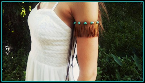 Fringe, Armband, Suede, armcuff, armlet, upper, arm, band, pocahontas, costume, armwrap, turquoise, native, american, style, boho, gypsy