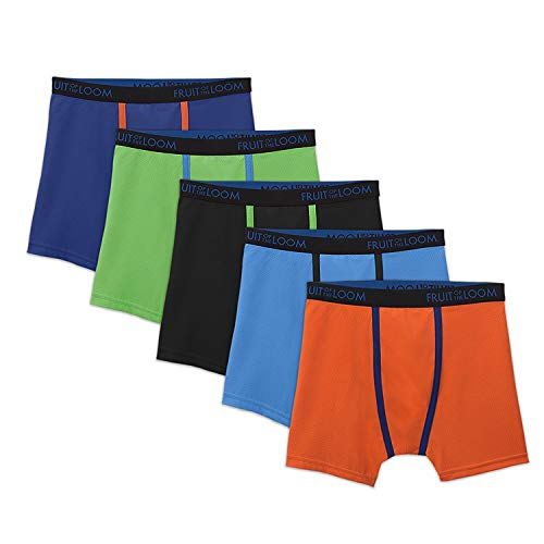 Fruit of the Loom Boys 5 Pack Breathable Boxer Brief Underwear (X-Large (18-20), Micro/Mesh Assorted)