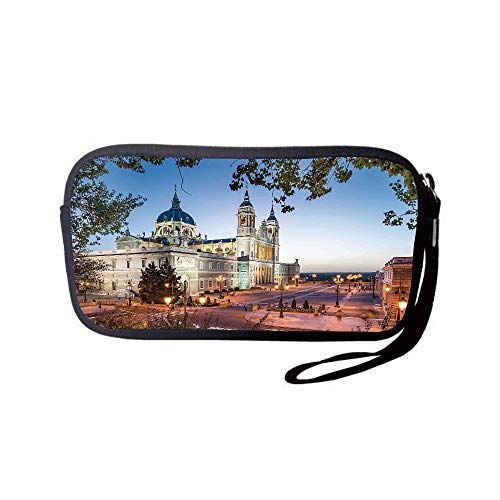 iPrint Neoprene Wristlet Wallet Bag,Coin Pouch,Cityscape,Old Cathedral and Royal Palace in Madrid Mediterrenean Mod City Europe Urban Print,Multi,for Women and Kids