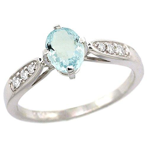 7x5mm Genuine Aquamarine Ring - 7