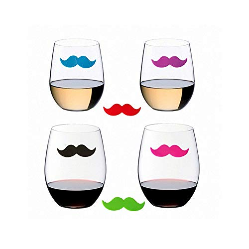 Cocktail//Wine Glass Markers Silicone Drink Markers Wine Charms with Beard Shape for Party Glass Identifiers 6 Count