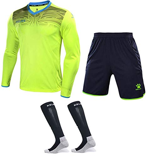 - KELME Goalkeeper Jersey Uniform Bundle - Set Includes Goalkeeper Shirt, Shorts and Socks - Professional Soccer Brand with Protection Pads on Shirt and Shorts. (Large, Yellow)