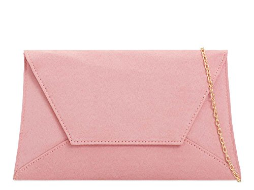 Strap Blush Faux Women'S Clutch Bag Chain Envelope Suede New Curved Party vXqwXrp1