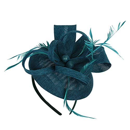 Sayhi Women Flower Fascinator Ball Feather Hair Accessories Handmade Retro Hair Clip Wedding Casual Headpieces(Green,Free Size)