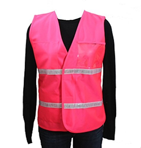 Clear Title Pocket - Safety Depot Incident Command Vest Multiple Colors, Clear Pockets for Laminated Inserts (Inserts Not Included) Open Sides & Hi Visibiltiy Reflective tape IC100 (Pink, Large/XL)