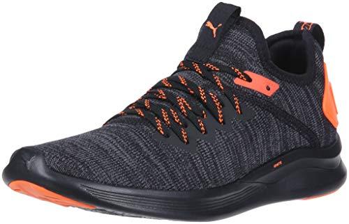 PUMA Men's Ignite Flash Evoknit Sneaker Black-Shocking Orange, 11 M US