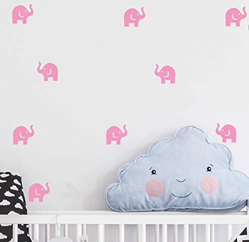 Elephant Decal Set - Cute Elephant Decal -36 Set Elephant Wall Decor Stickers for Kids Bedroom- Art Vinyl Removable Nursery Room Wall Decals (Soft Pink)