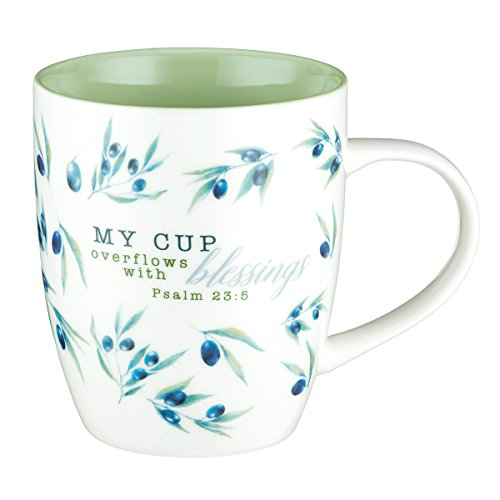 My Cup Overflows with Blessings Mug - Olive Branch Coffee Mug w/Psalm 23:5, Bible Verse Mug for Women and Men - Inspirational Coffee Cup and Christian Gifts (13-ounce Ceramic Cup)]()