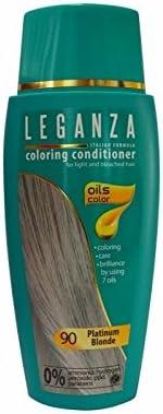 Leganza Bálsamo para el cabello sin amoniaco, color rubio platino N90, 7 aceites naturales.