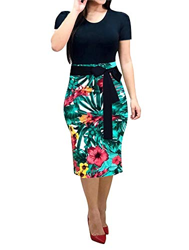 Women' Short Sleeve Bodycon Dress -Cute Bowknot Floral Pencil Dress XX-Large Black and Green