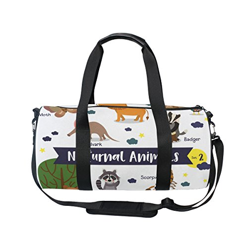 Bag Animals Weekend Moth Bag Sports Nocturnal Cartoon Owl Bag Coyote Travel Bag Gym Scorpion Overnight Lion Bag Holdall Cute Duffle Ahomy Travel HSvnftx