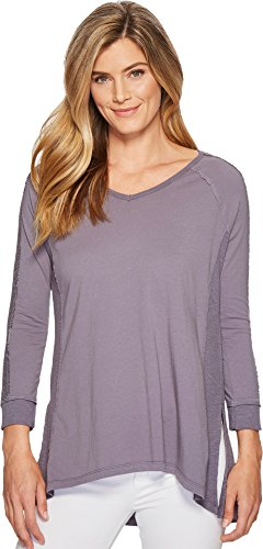 Mod-O-Doc Women's Supreme Jersey Lace Inset V-Neck T-Shirt Steel (Inset V-neck)