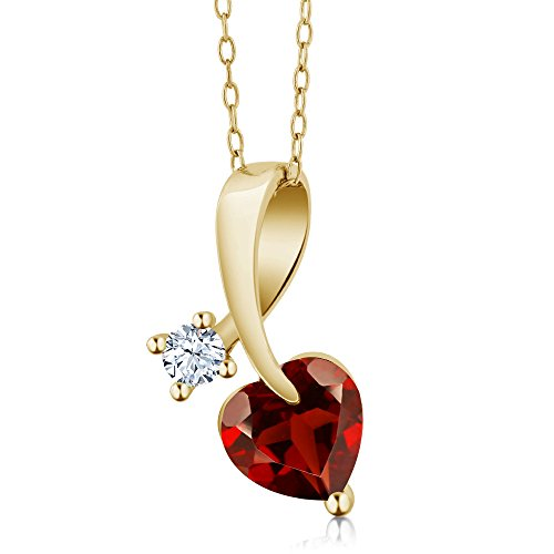 1.41 Ct Heart Shape Red Garnet 18K Yellow Gold Plated Silver Pendant