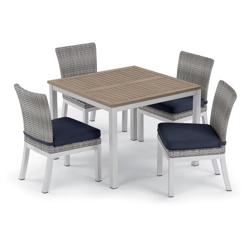 Oxford Garden Travira 5 -Piece 39-Inch Dining Table and Argento Side Chair Set - Powder Coated Aluminum Frame - Resin Wicker Argento Chair - Tekwood Vintage Table Top - Midnight Blue Cushions (Classic Oxford Side Chair Garden)