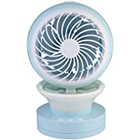 Instun USB Powered Desk Fan 2 Speeds Misting Fan Personal Cooling Fan with 7 Colors LED Lights Changing Mood Lamp for Home Office Bedroom Room