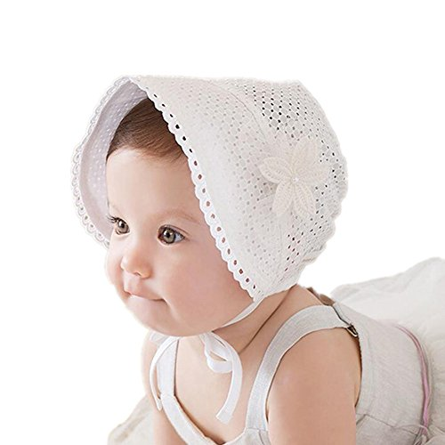 Royal Lace Flower Baby Girls Toddlers Eyelet Lace Breathable Cotton Bonnet Sun Hat (08)