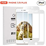 [2 Pack] iPhone 7 Plus/iPhone 8 Plus Screen Protector Tempered Glass Film [White]