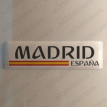 Pegatina Madrid España Resina, Pegatina Relieve 3D Bandera Madrid España 120x30mm Adhesivo Vinilo: Amazon.es: Coche y moto