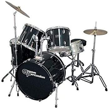 groove percussion 5 piece drum set with hardware and cymbals musical instruments. Black Bedroom Furniture Sets. Home Design Ideas