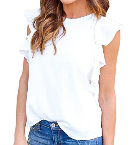 Donna Girocollo Sottile Maniche Canotte Foglie Estivo Jumper Shirt Bianca Top di Bluse Casual Maglietta Loto Pullover Chiffon Camicie ZxwEq0gw