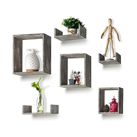 RR ROUND RICH DESIGN Floating Shelves Set of 6 - Rustic Wood Wall Shelves with 3 Square Boxes and 3 Small U Shelves for Free Grouping Driftwood Finish - THE RC ADVANTAGE: Constructed of solid wood ,lightweight and sturdy, Simple classic structure, Beautiful antique color .A strong rustic style. Grey. EASY TO USE: Features square and U shelves combination to meet diverse needs and flexible wall mounting. lightweight yet sturdy, each wood shelf holds up to 11lbs; easy to install. FLEXIBLE: Features square and U shelves combination to meet diverse needs and flexible wall mounting, suit for grouping together or hang separately. displaying collectibles, arts, crafts, picture frames, house plants, stuffed toys in living room, bedroom, office or for home supplies in bathroom or kitchen - wall-shelves, living-room-furniture, living-room - 41HI5h4XrPL. SS570  -