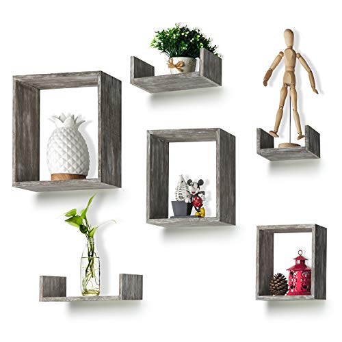 RR ROUND RICH DESIGN Floating Shelves Set of 6 Rustic Wood Wall Shelves with 3 Square Boxes and 3 Small U Shelves for Free Grouping Grey (Shelf Wood Box)