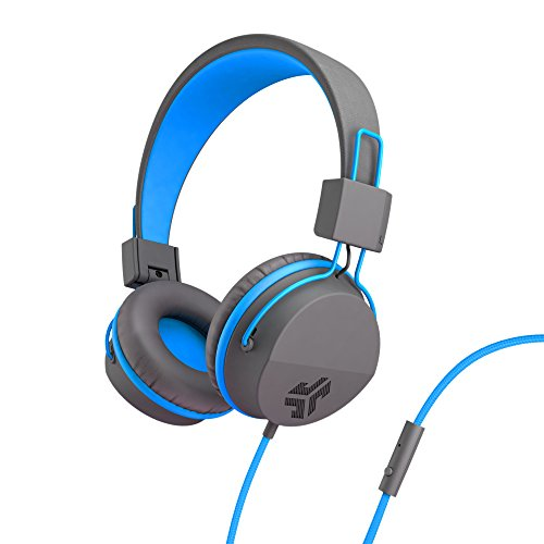 JLab Audio Neon Headphones On-Ear Feather Light, Ultra-plush Eco Leather, 40mm drivers, GUARANTEED FOR LIFE - Graphite/Blue