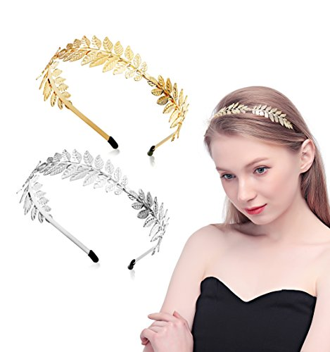 Thunaraz Leaf Headband for Women Roman Goddess Branch Crown Bridal Hairband for Girls Gold Silver Tone