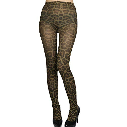 - Women Lady Animal Leopard Print Tight Pantyhose Stockings, Small Size (yellow-brown)