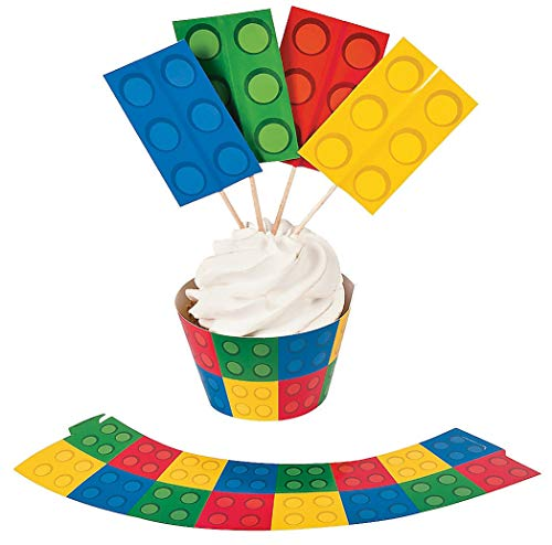 (Color Building Brick Party Cupcake Wrappers with Picks - 50 of Each)