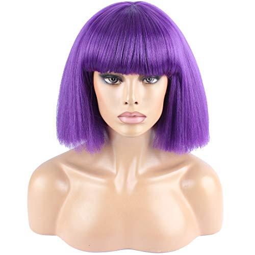 WeKen Women's Fashion Wig Short Bob Kinky Straight Full Bangs Synthetic Hairpieces Purple (Bobo Full Wig)