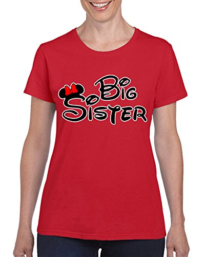 Cool Disney Names (Minnie Big Sister Funny Cool Disney T-shirt for Women Round Neck Tee Shirt(Red,Small))
